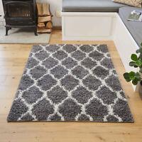 Grey Deep Boho Moroccan Trellis Shaggy Rug Non Shed Soft Cosy Living Room Rugs
