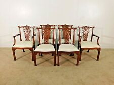 MAITLAND SMITH Set of 6 Chinese Chippendale Splatback Mahogany Dining Chairs