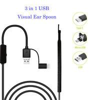 3in1 USB Endoscope Earpick Mini Camera Ear Cleaning Tool HD Visual Ear Spoon