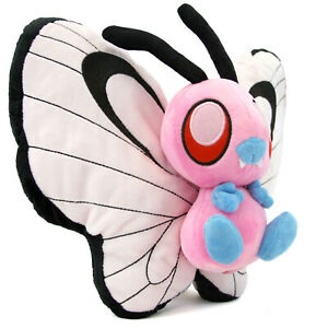 """Poke - PINK BUTTERFREE 10"""" Plush New (Pocket Monsters) Red Blue Plushie"""