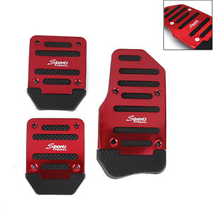 Non Slip Sports Metal Manual Car Vehicle Pedal Foot Treadle Cover Pad 3 Pcs Red