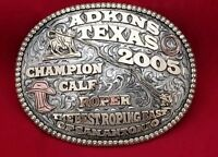 VINTAGE RODEO BUCKLE 2005 ADKINS TEXAS ROPING Rodeo Hand Engraved Signed 513