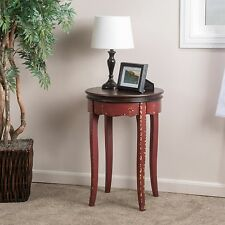 Antique Inspired Design Red Painted Wood Round Accent Table