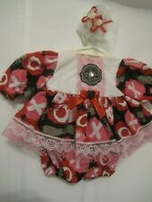 "Red, black, pink, & white x's & o's dress, panties & hairpins 15-16"" baby dolls"