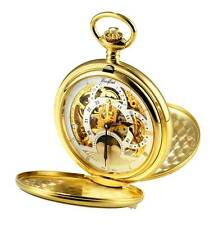 Woodford Gold Plated Hunter Skeleton TWIN TIME ZONE POCKET WATCH, ref 1051