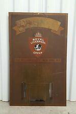 Antique Brass Metal Royal Liverpool Litho Insurance Advertising Calendar Sign