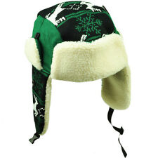 Philadelphia Trapper Aviator Knit Beanie Fleece Nordic Hat Ear Flap Black Green