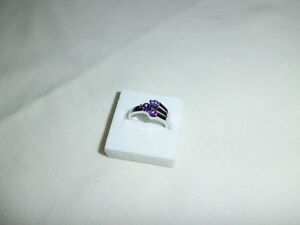 AMETHYST  LAB CREATED DRESS  RING WHITE GOLD FILLED