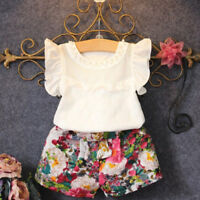2 PC Toddler Kids Baby Girls Outfit Clothes T-shirt Tops+Floral Pants Shorts Set
