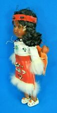 Vintage Native American Sleepy Eye Doll & Babies In A Back Satchel