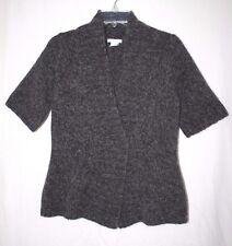 Tweeds Womens Size L Short Sleeve Dark Grey Cardigan Sweater