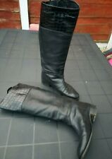 Black Knee high leather Boots Size 5.5 EUR 38.5 autumn winter made in Italy