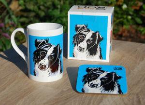 Border Collie (black/white) - porcelain mug gift set with coaster and gift box.