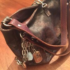 TYLIE MALIBU Distressed Brown Leather Purse Bag Once Bitten Tag Chains Stones