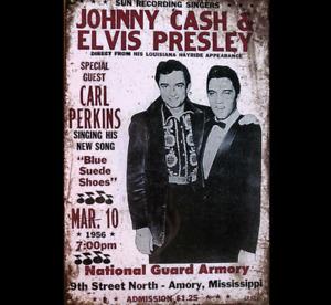 Johnny Cash & Elvis MUSIC Garage Rustic Vintage Tin Signs