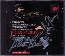 Julian RACHLIN & FEDOSEYEV Signed PROKOFIEV TCHAIKOVSKY Violin Concerto SONY CD