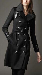 Women's British Style Black Woolen Long Double Breasted Trench Coat BNWT