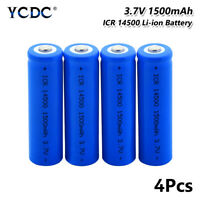 ICR 14500 Battery 3.7V 1500mAh Li-ion Rechargeable Cell For Camera Torch 4Pcs D