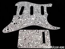*NEW Black/White Abalone Stratocaster PICKGUARD & TREMOLO COVER Standard Strat