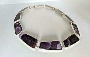 Rare Lulu Smith Amethyst Resin & Sterling Silver Artisan Designer Link Necklace