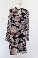 Ann Taylor Loft Black Floral Paisley Print Tie Neck Shift Dress Size S