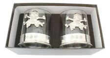 More details for skull & crossbones pair crystal tumblers with pewter base in presentation box