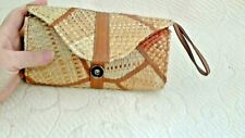 """Straw Clutch Bag Faux Leather Wristlet Nat Color 7.5 x 4"""" Small Lined in Fabric"""
