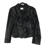 Vintage Cache Womens Sz L Best For Med Faux Fur Button Front Cropped Coat Black