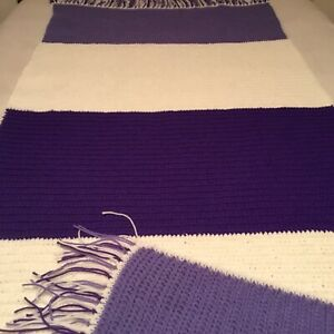 """VERY PRETTY HAND CROCHETED AFGHAN! 88"""" X 24 1/2"""" PURPLE & WHITE WITH FRINGE"""