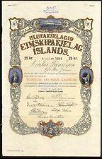 Islandia: hlutafjelagid eimskipafjelag Islas (buque de vapor), 25, 1914 coronas compartir