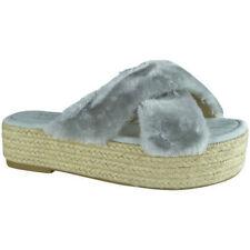 WS Shoes Womens Faux Fur Platform Slip on Sandals - Grey - UK Sizes 3-8