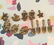 12 X Tono De Bronce naturaleza mezcla encantos fabricación de joyas, artesanías, Floral, aves, Amor