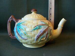 Antique Majolica Bamboo & Prunus Design Teapot