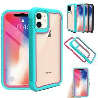 For iPhone 12 Pro Max Hybrid Armor Case Cyrstal Clear Bumper Cover +Belt Clip