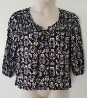 Mossimo Black White Yellow Floral Print 3/4 Sleeve Top Blouse Size XXL