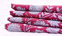 Indian Floral Print Cotton Fabric Indian Natural Vegetable Dye 2.5 Yards Sewing