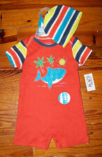 New! Boys THE CHILDREN'S PLACE 3pc Orange Blue Yellow Shark Outfit 3-6 Months