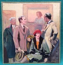 """Vintage Illustration Signed Linus (Axel 1885-1980) """"At Art Gallery"""" Gouache"""