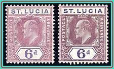 ST.LUCIA 1907-10 KING EDWARD VII SC#61-61a MLH CV$85.00