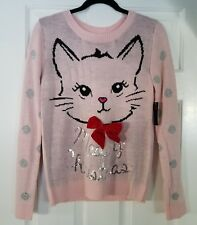 No Boundaries Meowy Christmas Pink Cat Ugly Sweater Silver Sequins XL 15-17