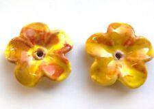 2 Céramique Fleur Perles Boutons/, Citron/Pêche 38 mm. Embellissement/perle/SEW/Artisanat