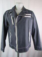 Black Rivet Blue/White Asymmetrical Zip Faux Leather Moto Jacket Size M