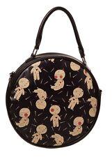 Banned Apparel Distractions Voodoo Doll & Pins Gothic Round Bag Handbag Black