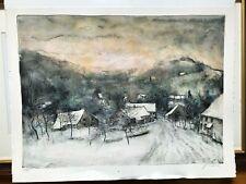 Bernard Gantner, signed, winter landscape, beautiful, listed artist.