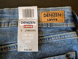 Denizen By Levi's Women's Low Rise Jeans Straight Crop Distressed Size 3 W 26