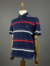 Men Paul & Shark Blue Striped Embroidered Logo Short Sleeve Polo Shirt Size M