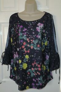Womens🦋NEXT🦋grey mix stretch cold sleeve longline top blouse size 16