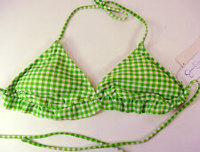 NWT JESSICA SIMPSON BIKINI BATHING SUIT TOP SZ SMALL GREEN WHITE CHECKS RUFFLE B