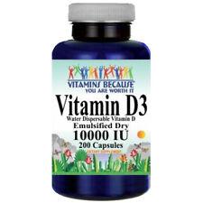 Vitamin D3 10000IU 200 Caps Water Dispersable Emulsified Dry as Cholecalciferul