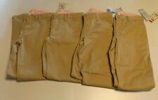 Sz 10 Lot of 4 Cat & Jack Girls' Twill Stretch Uniform Chino Pants, Khaki, Nwt